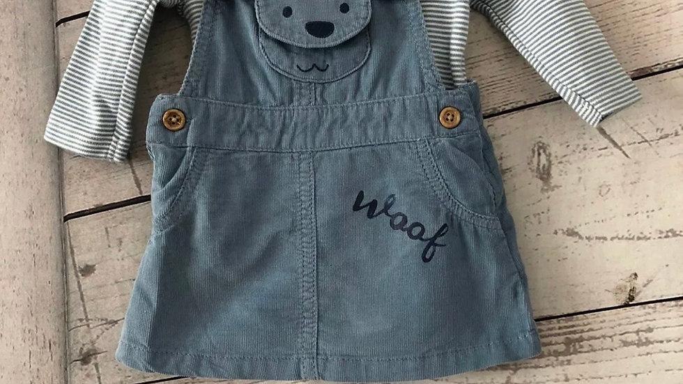 Girls Marks & Spencer Blue Corded Dress With Under Vest Age 0-3 Months