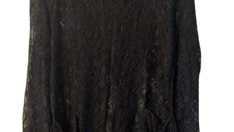 Womens / Ladies River Island L'art Black Lace Long Sleeve Top Size 12 Excellent