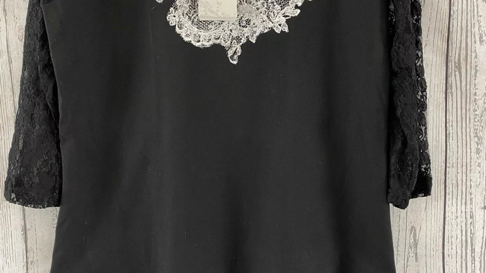 Womens / Ladies Chianti Black Top With 3/4 Sleeve Lace Size 12 New With Tags