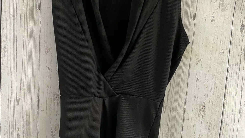 Womens / Ladies Topshop Black Ribbed Bodysuit Size 8 Immaculate