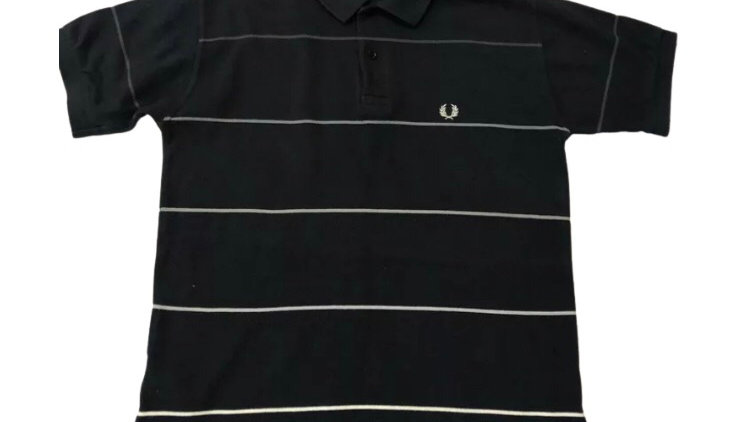 Boys Fred Perry Black Stripe Polo T-Shirt Youth Large Approx 14-15 Years