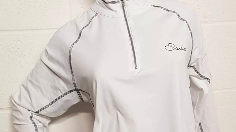 Womens / Ladies Dare2b White Stretch Core Ilus Technology 1/4 Zip Top Size 16