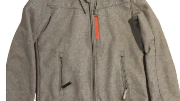 Mens Superdry Grey Wool Mix Windtrekker Jacket Size Small Excellent Condition