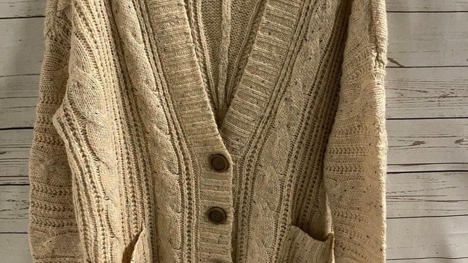 Womens / Ladies Blonde Blonde Knitted Beige Colour Flek Cardigan Size 8