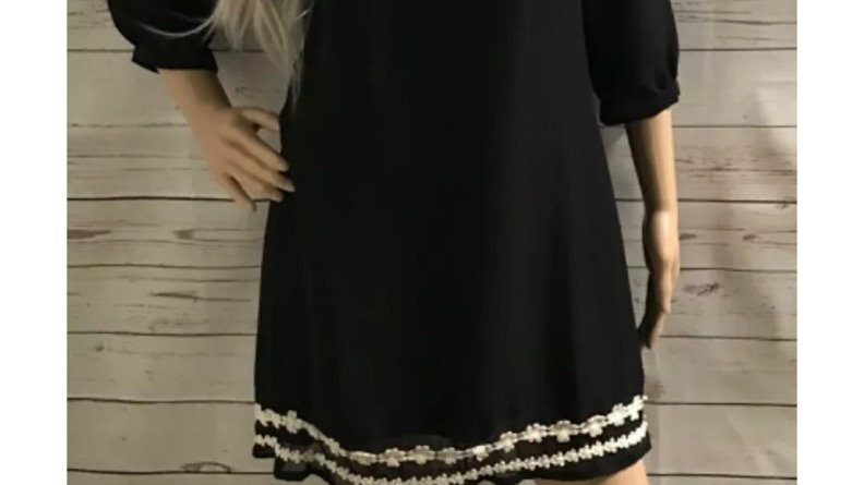 Ladies New Look Black Tunic Dress With Long Sleeve Mesh Arms Size 10 Immaculate