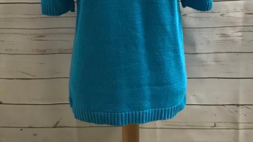 Womens / Ladies Glimpse Design Blue Knitted Short Sleeve Jumper Size M/L NEW