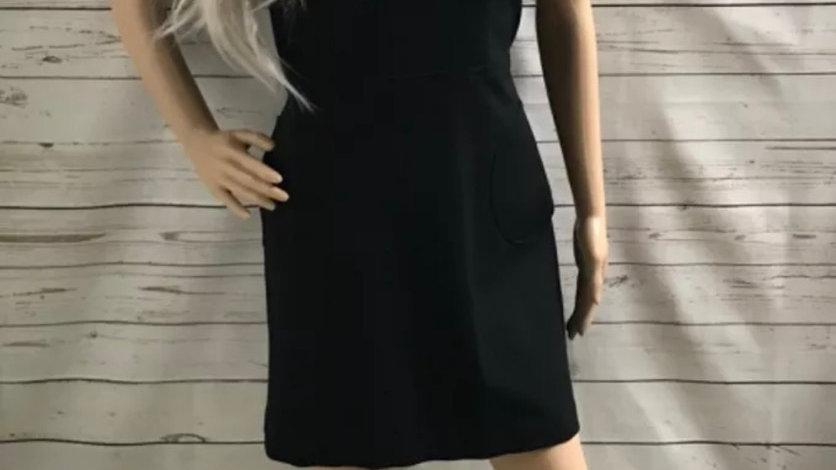 Womens / Ladies M&Co Black Short Sleeve High Neck Black Dress 14 Petite