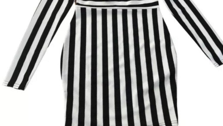 Womens / Ladies I-X London Black White Off Shoulder Bodycon Dress Size 10 NEW
