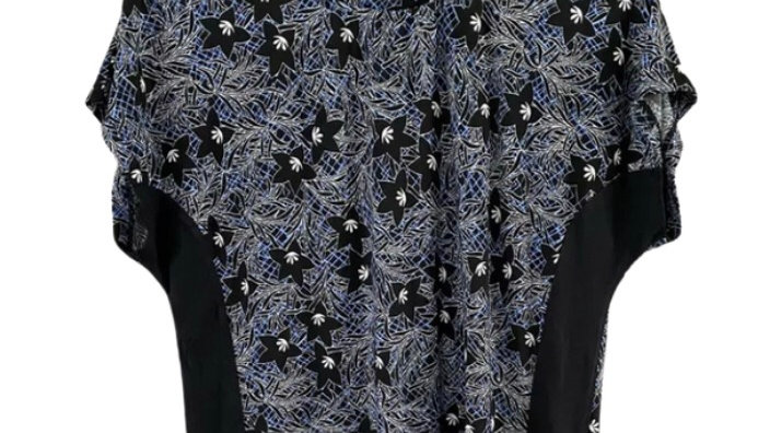 Womens / Ladies Warehouse Blue Black Floral Blouse Top Size 12 Immaculate