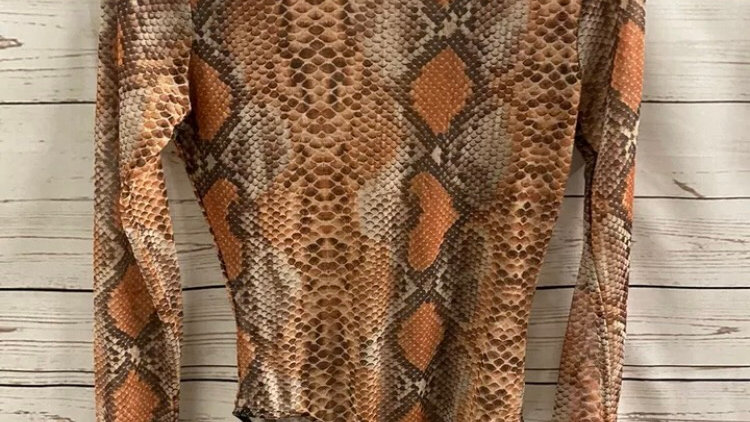 Womens / Ladies Stylewise Brown / Orange Mesh Bodysuit Size 6 Immaculate