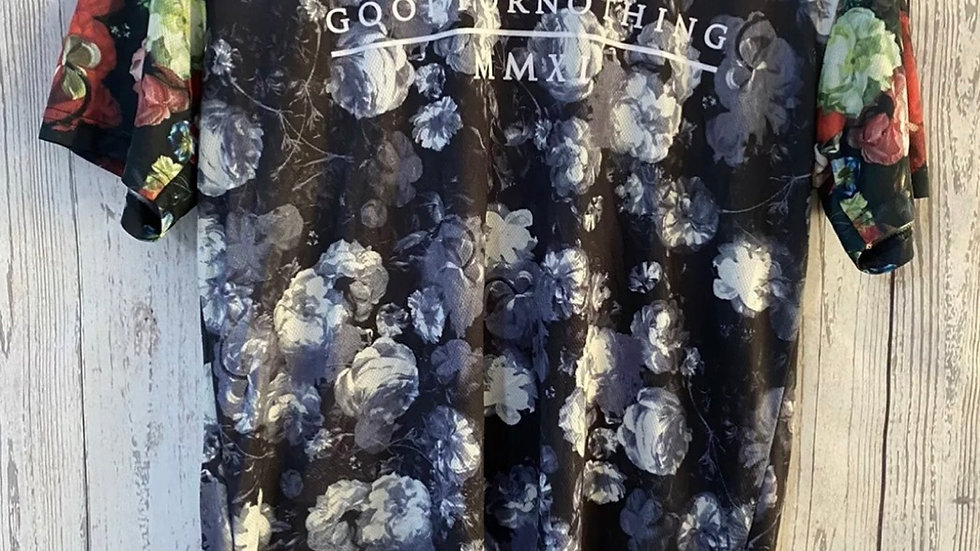 Womens / Ladies Good For Nothing Blue Floral T-Shirt Size Large Uk 14