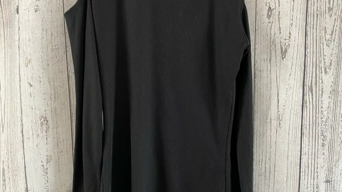 Womens / Ladies New Look Black  Ribbed Cut Out Shoulder Long Sleeve Top size 6