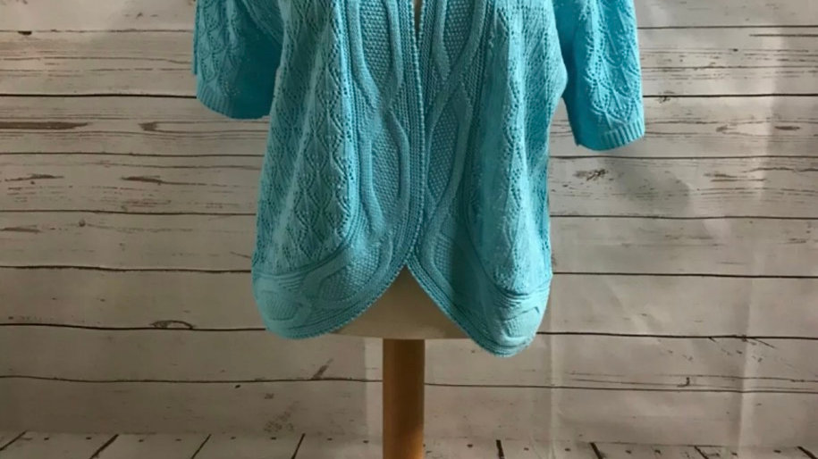 Womens / Ladies Glimpse Design Knitted Light Blue Cardigan Size M/L NEW