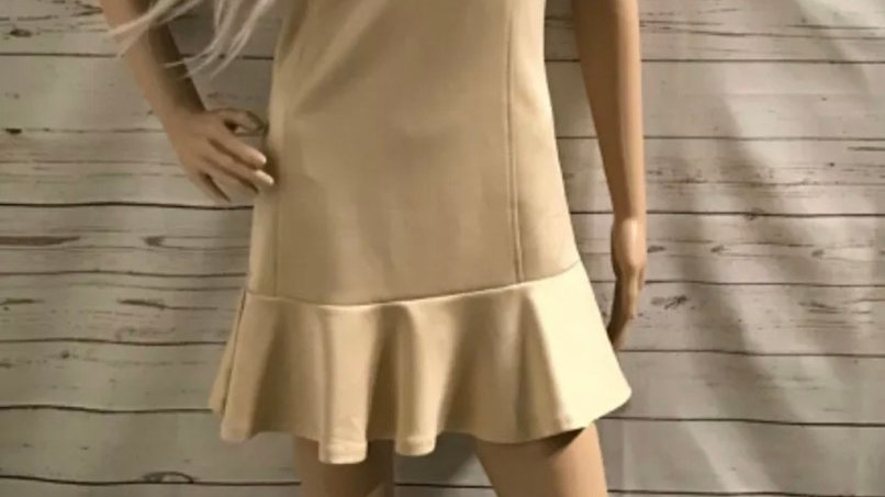 Women's / Ladies Flam Mode Beige Cream Body Con Dress With Pleated Trim Size L