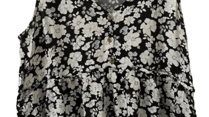 Womens / Ladies New Look Black White Floral Blouse Shirt Size 12 Immaculate