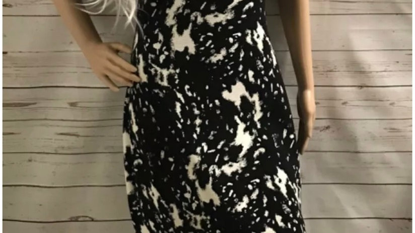 Womens / Ladies Peacocks Black & White Dress Size 12 Immaculate
