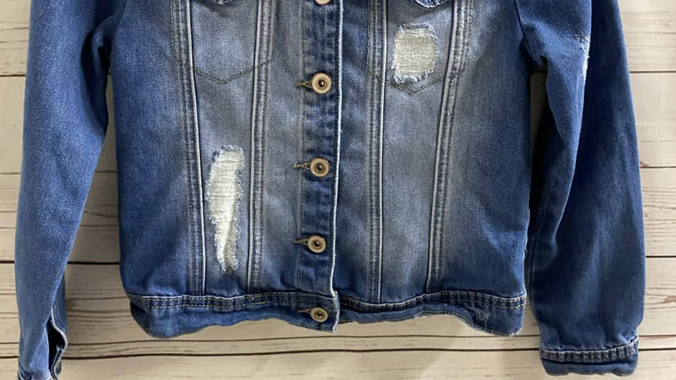 Girls TU Blue Denim Ripped Jacket Age 9-10 Years Excellent Condition