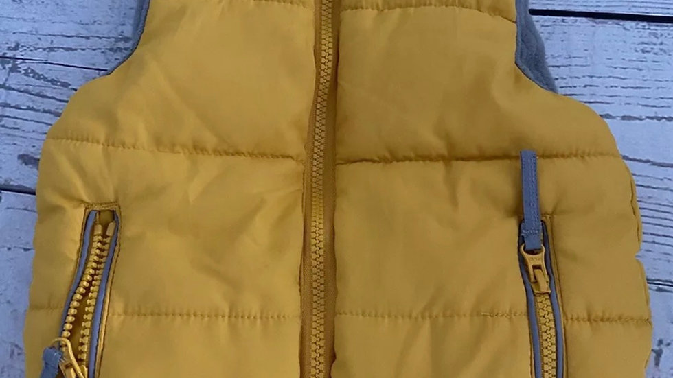 Boys Mothercare Yellow Mustard Padded Gilet Bodywarmer Age 6-9 Months Immaculate