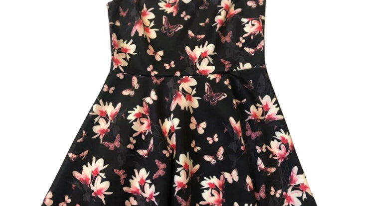 Womens / Ladies Simply Be Black Floral Dress Size 12 New With Tags