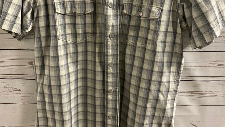 Mens Soul Cal Beige & Blue Check Short Sleeve Shirt Size Large - Immaculate