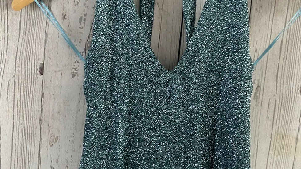 Womens / Ladies Topshop Green Sparkle Cropped Halter Neck Top Size 6 Immaculate