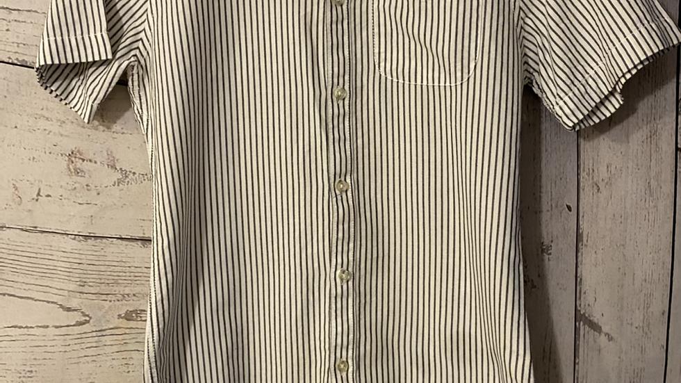 Mens River Island Grey White Stripe Short Sleeve Shirt Size Xs - Excellent