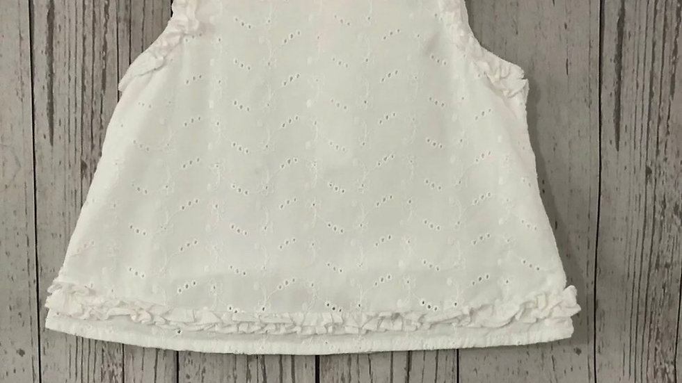 Baby Mothercare White Sleeveless Top Age 6-9 Months Immaculate