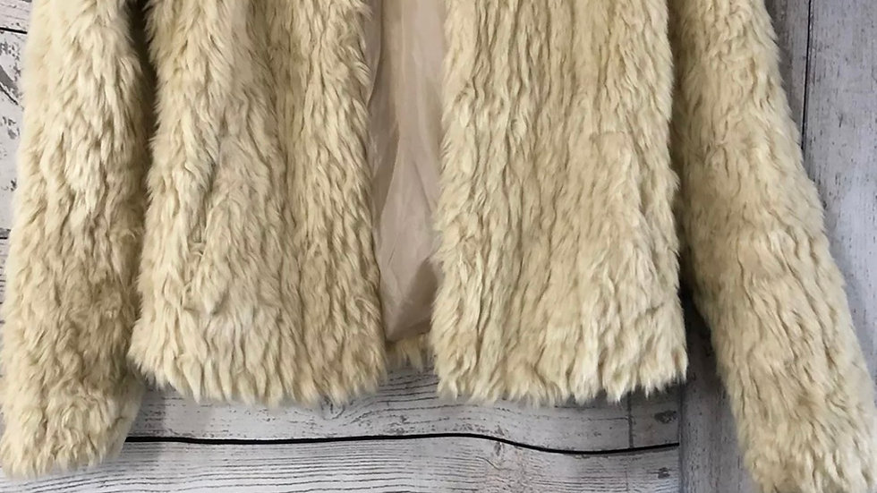 Girls New Look 915 Beige Faux Fur Coat Age 10-11 Years Immaculate Condition