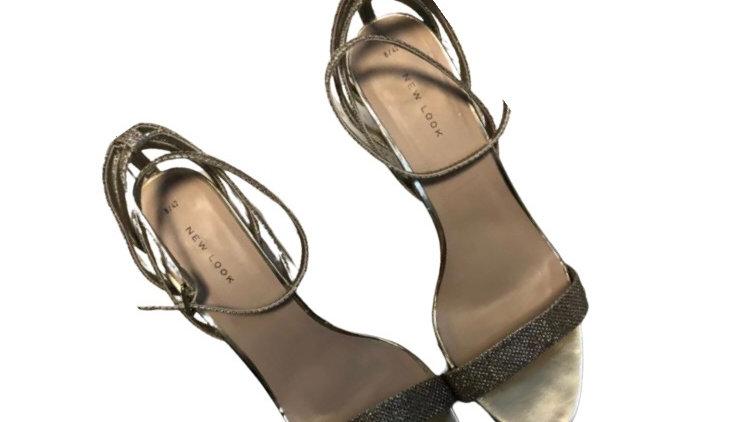Womens / Ladies New Look Gold Glitter Strap Heel Sandals Size 8 Excellent