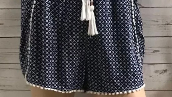 Womens / Ladies F&F Blue White Summer Shorts Size 10 - Immaculate