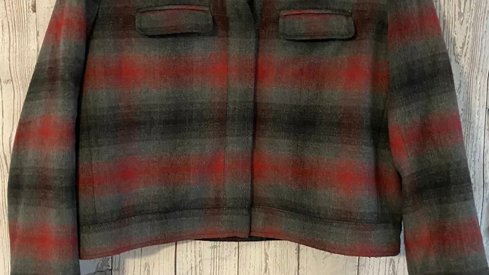 Womens / Ladies Topshop Check Wool Mix Jacket Size 10 Good Condition