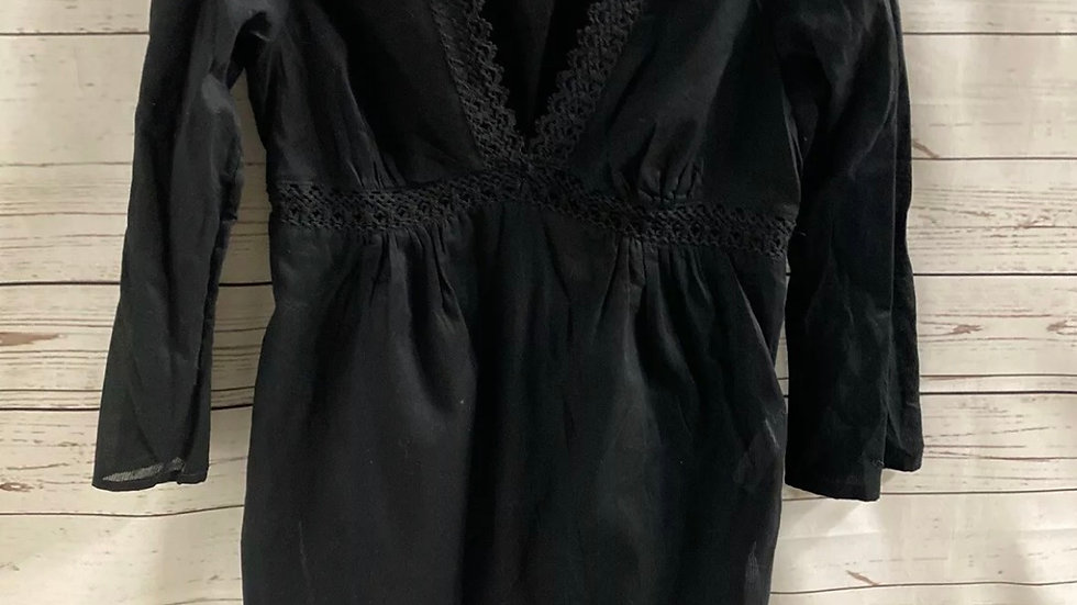 Womens / Ladies George Black 3/4 Sleeve Cotton Top Blouse Size Small Immaculate