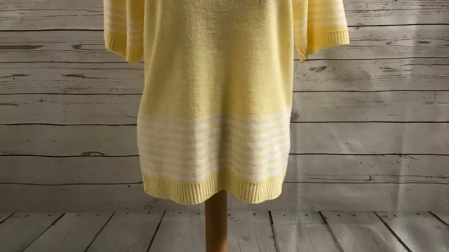 Womens / Ladies Glimpse Design Knitted Yellow Short Sleeve Jumper Size L/XL NEW