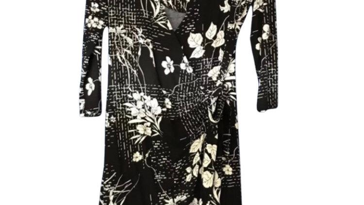 Women's / ladies TU black floral wrap dress 3/4 sleeve size 8 excellent conditio