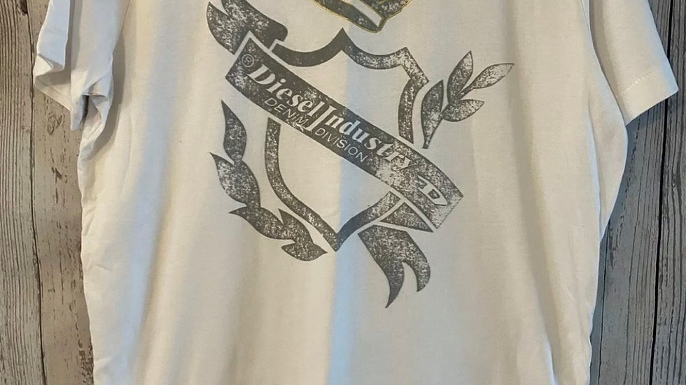 Mens Diesel White Printed Short Sleeve T-Shirt Size Medium - Immaculate