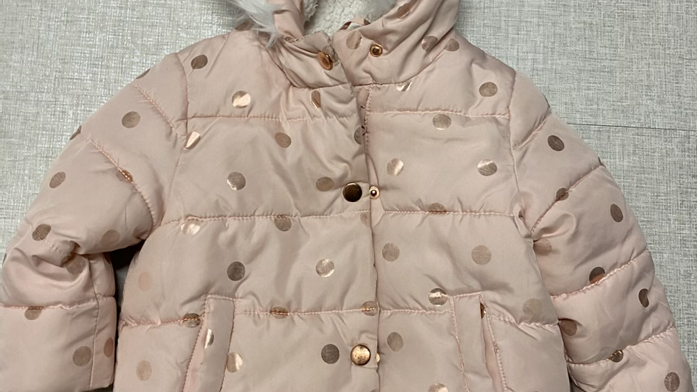 Girls George Pink Gold Spot Coat Age 1-1.5 Years Good Condition