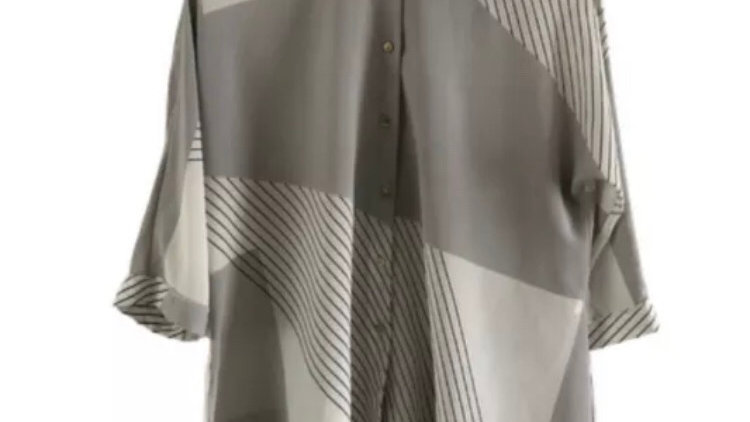 Womens / Ladies River Island Grey Stripe Blouse Top Size 6 - Immaculate