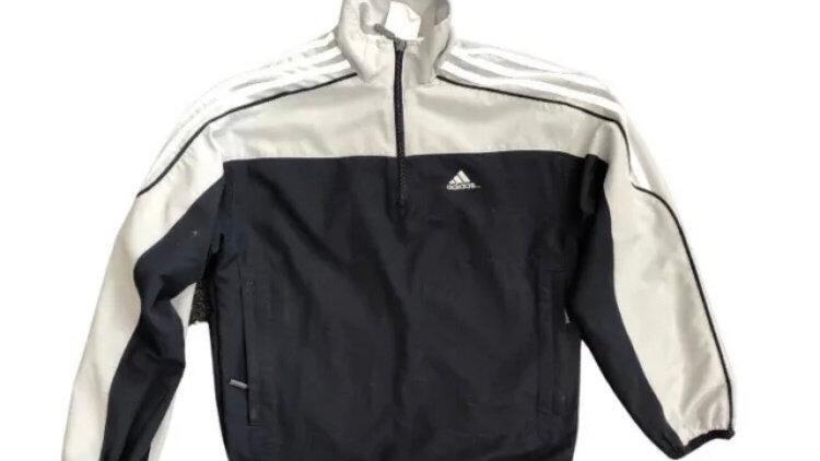 Boys Adidas Blue / Grey 1/4 Pull Hoodies 140cm Age 9-10 Years