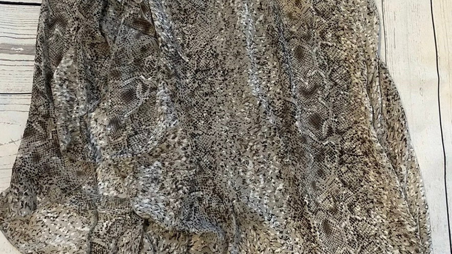 Womens / Ladies Boohoo Brown Snake Print Flow Long Skirt Size 20 New With Tags