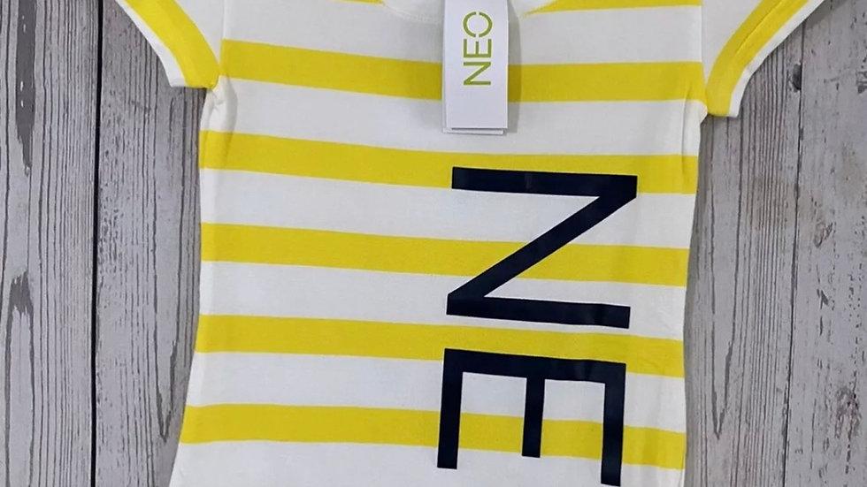 Women's / ladies Adidas neo yellow white stripe t-Shirt size XXS New With Tags
