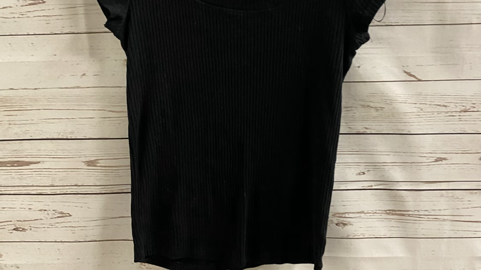 Womens / Ladies River Island Black Ribbed T-Shirt Top Size 10 good condition