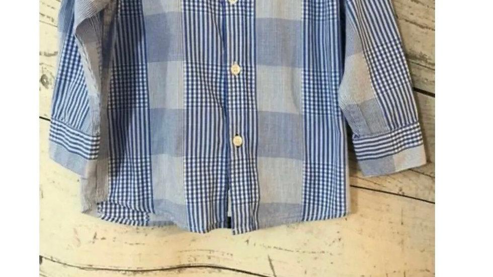 Boys Debenhams Junior J Blue Check Long Sleeve Shirt Age 3-4 Years