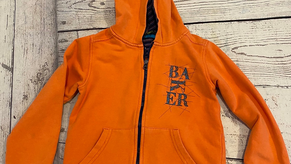 Boys Ted Baker Orange Full Zip Hoodie Age 5-6 Years Good Condition.