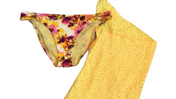 Women's / ladies yellow and pink floral bikini set size 14 excellent condition