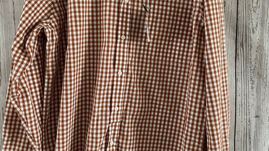 "Mens Nicole Miller Orange Check Long Sleeve Shirt 16.5"" Collar 42"" Chest New"
