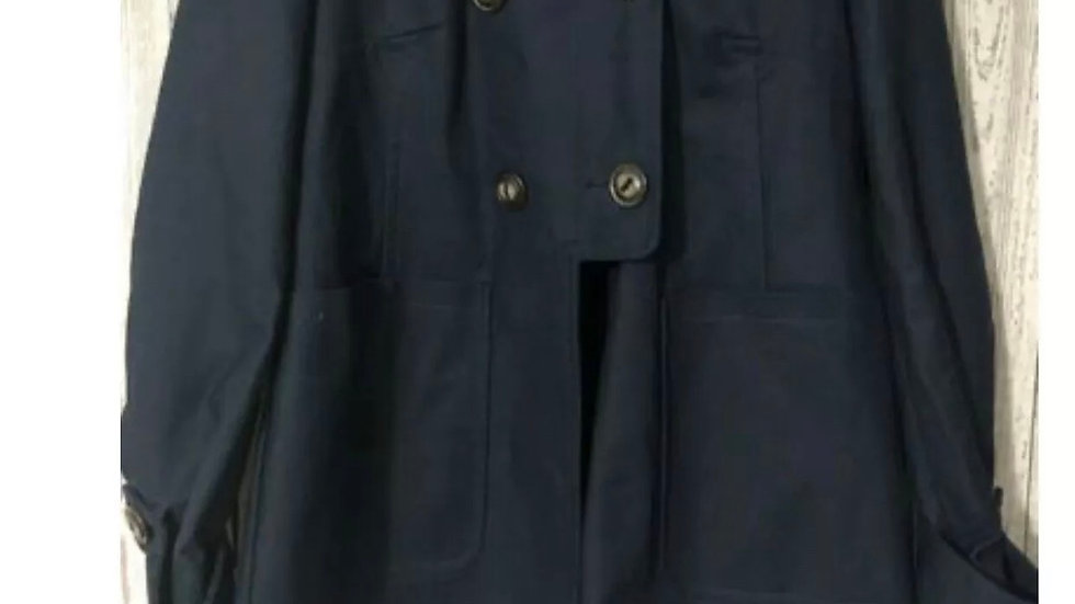 Women's / Ladies ASOS Navy Blue Ribbed Effect Coat With Hood Size 8 Immaculate