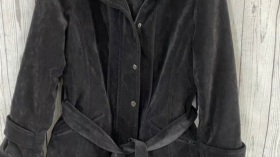 Womens / Ladies Principles Black Faux Suede Coat Fully Lined Size 12 Immaculate