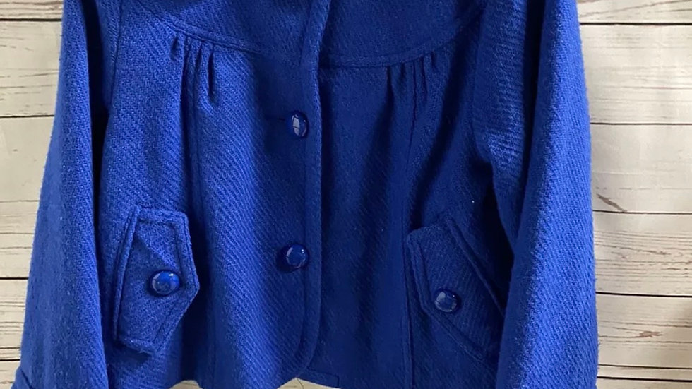 Girls Young Dimension Blue Wool Mix Smart Coat Age 11-12 Years - good condition