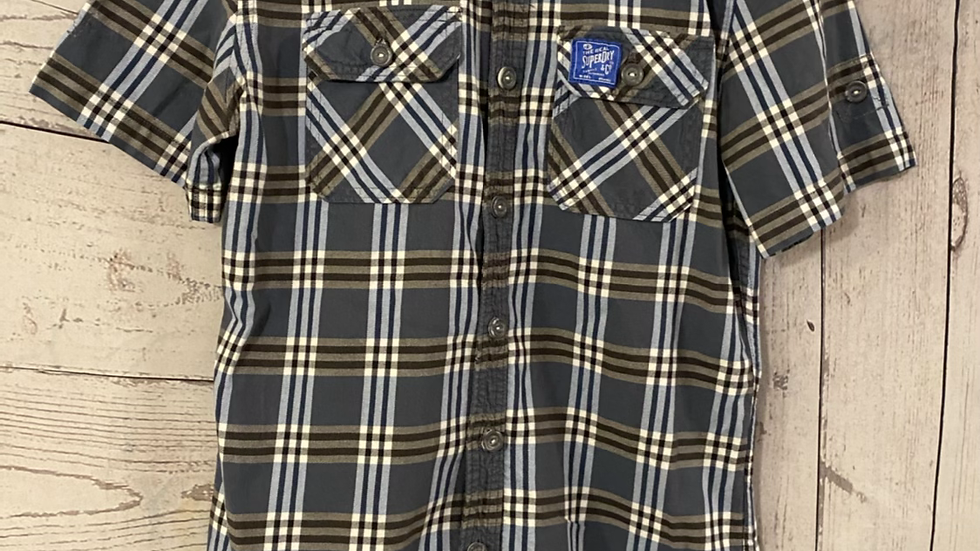 Mens Superdry Blue Check Long Sleeve Shirt Size Small - Excellent Condition