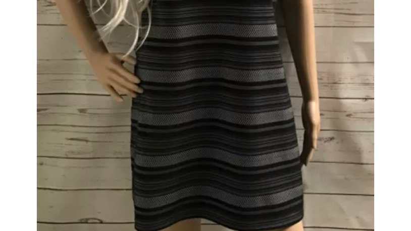 Women's River Island Black & White Turtle Neck Dress Size 10 Missing Belt